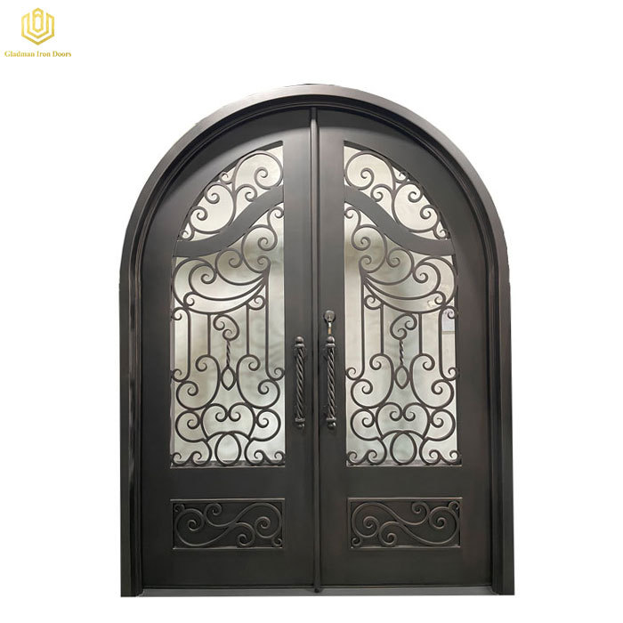 Double Wrought Iron Front Door Arched Top Black