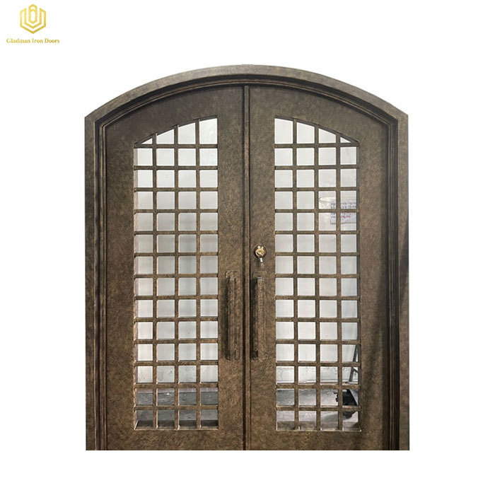 Double Wrought Iron Front Door Arched Top W/ Threshold