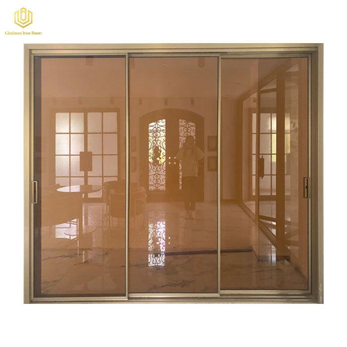 Modern House Brown Tempered Glass Sliding Door