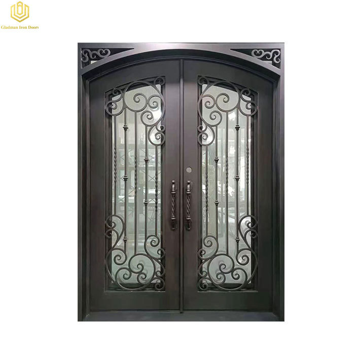 Iron entry Door Flat-Top Hollow Design With Opaque Glass