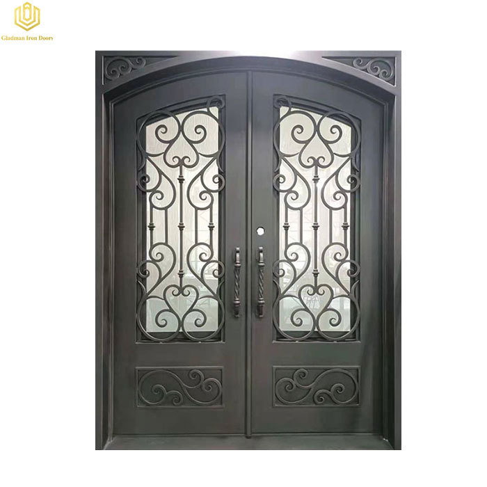 Wrought Iron Double Door Square Top With Glass Customized