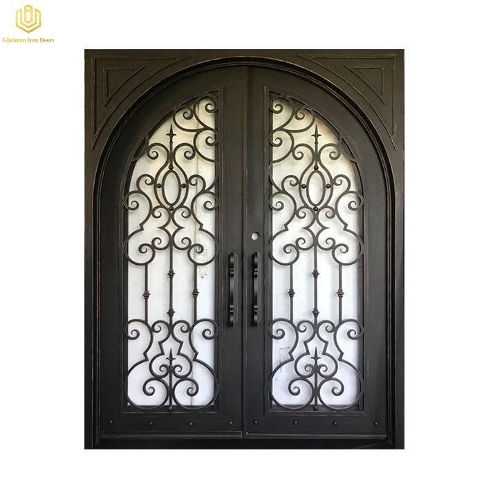 New Entry Door With Glass Window Double Wrought Iron Door Customizable Size