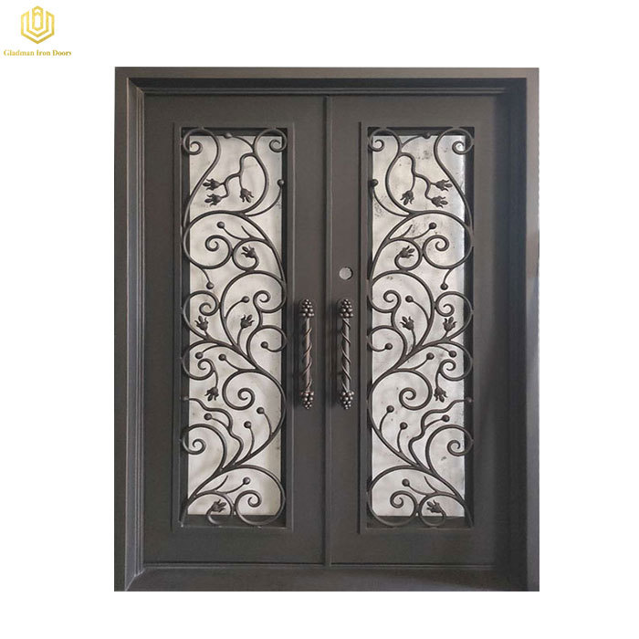 Double Wrought Iron Front Door Square Top With Openable Glass