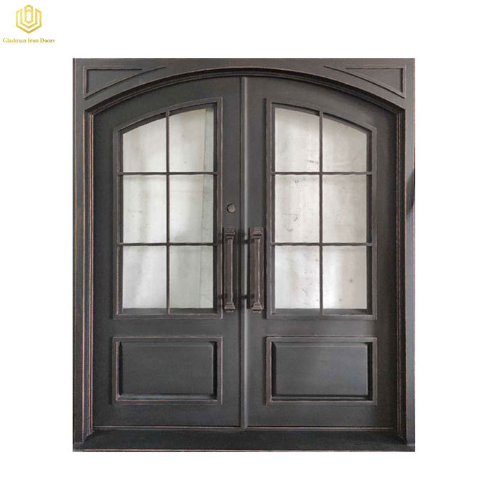 Wrought Iron Door Double Entrance Door Square Top Simple Square With Glass