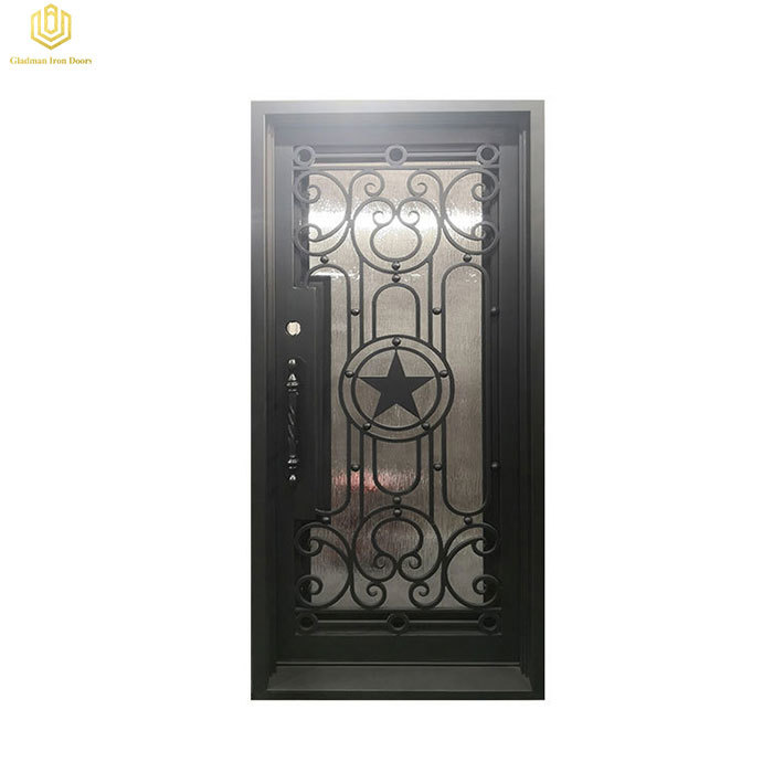 Square Top Wrought Iron Door Single Iron Five-pointed Star Design