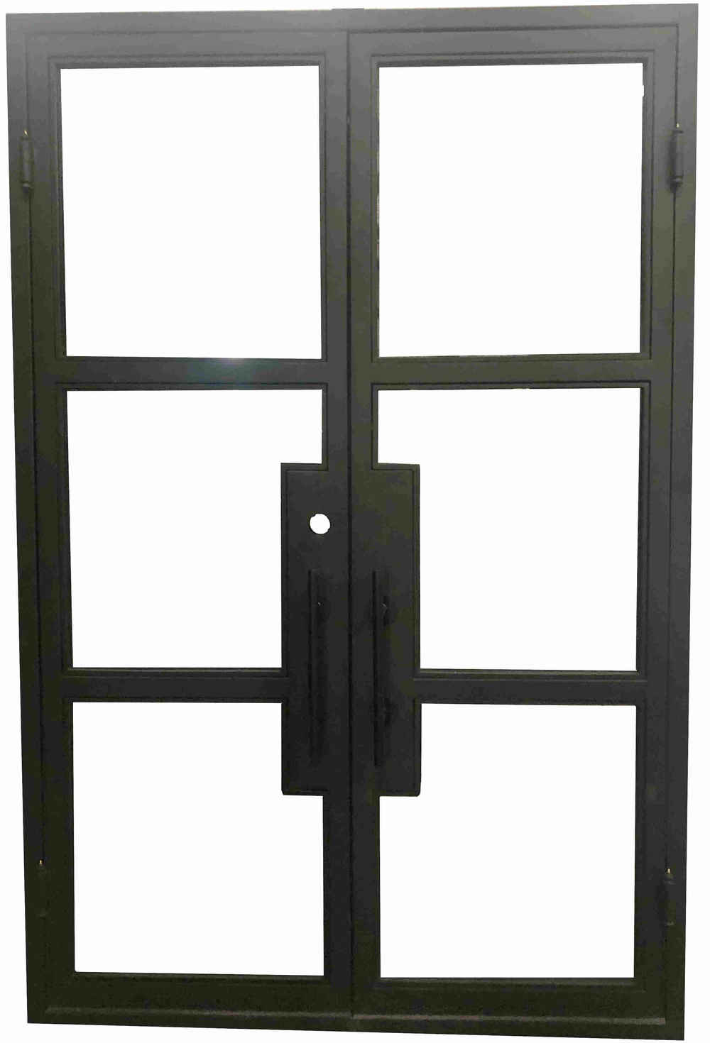 Oem Custom French Style Doors Iron Square Top Clear Glasses Left Hand Inswing Factory Price-Gladman