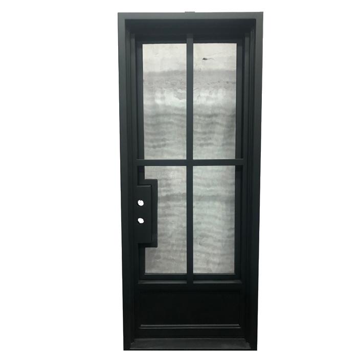 Square Jamb Eyebrown Door Top Wrought Iron French Door Single Gate Design