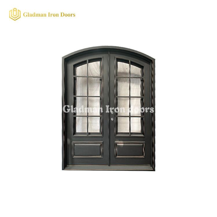 Double Wrought Iron Front Door Eyebrow Door Latern w/ cooper edge