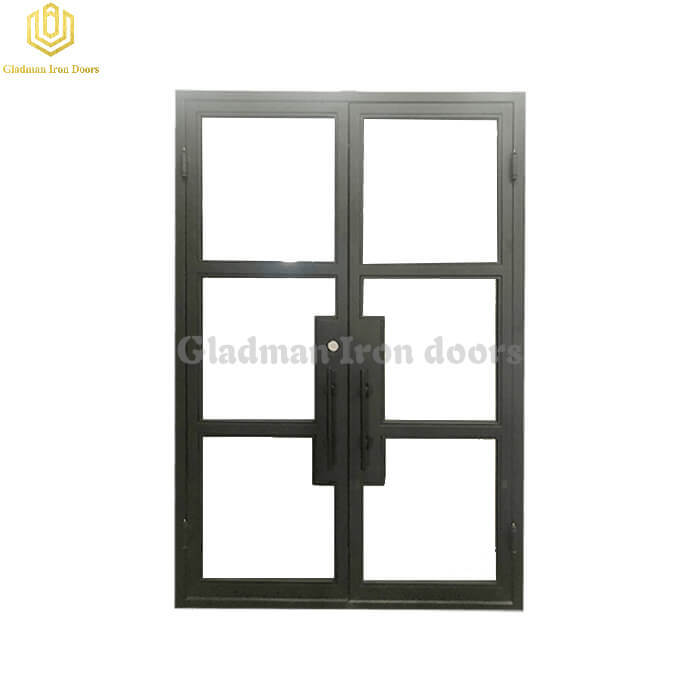 French Style Doors Iron Square Top Clear Glasses
