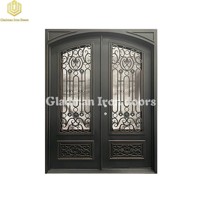 Double Wrought Iron Front Door Square Top W/ Special  Flower