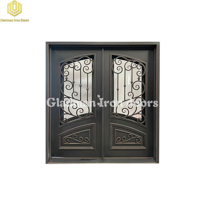 Wrought Iron Front Door Square Top Black W/ Fixed Flemish Glass